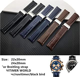 Genuine Real Leather Watch Band Watchband for Breitling Strap 20mm 22mm 24mm,Black Bamboo Leather,22mm Without Buckle