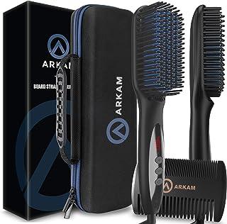 Arkam Deluxe Beard Straightener for Men - Ionic Beard Straightening Comb, Anti-Scald Feature, Hair Straightener for Men, P...