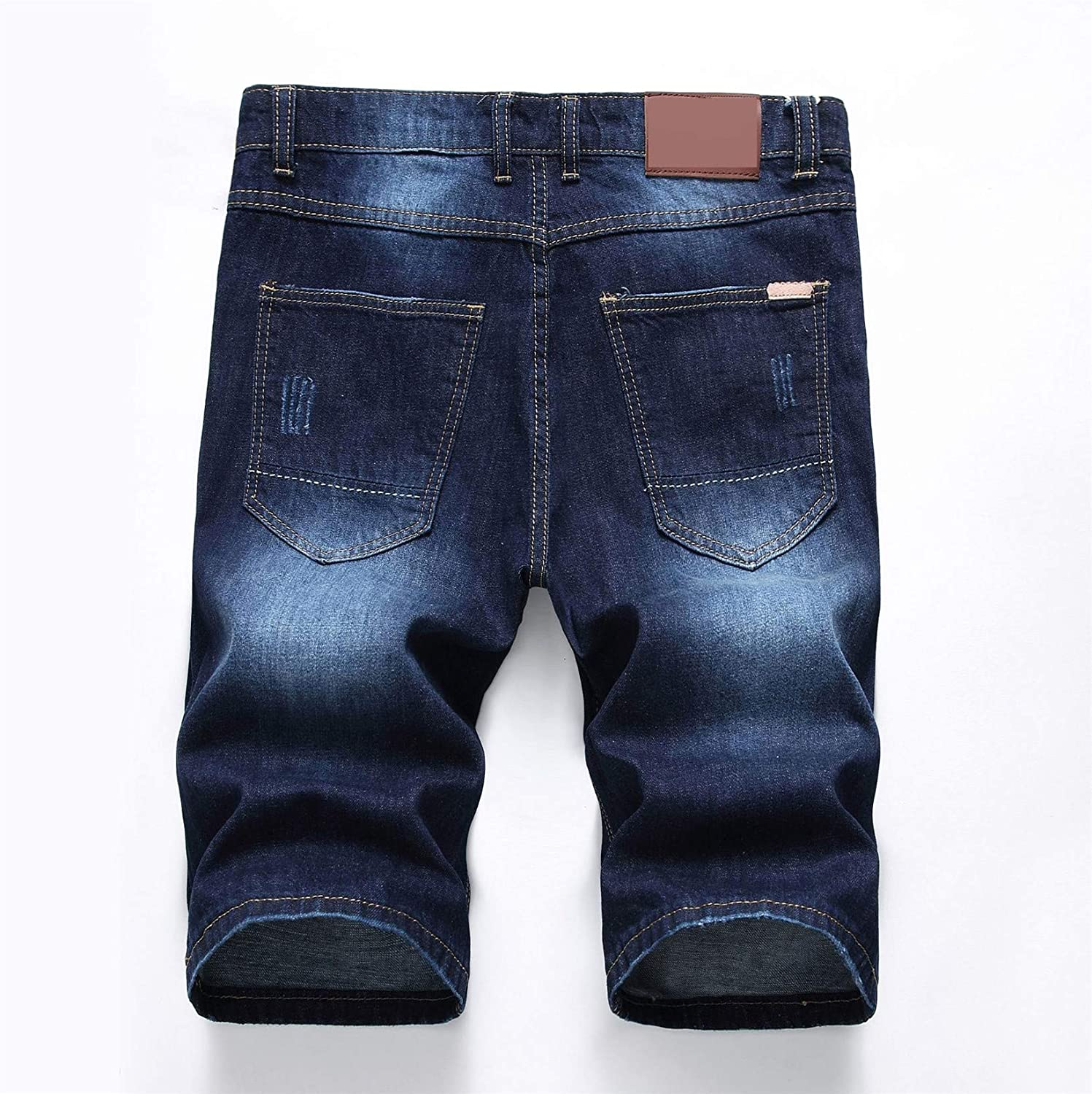 Andongnywell Mens Summer Casual Denim Shorts Distressed Stretchy Jeans Shorts Ripped Straight Short Pants