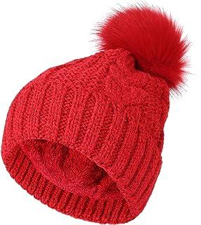 WITHMOONS Fleece Twist Knit Pom Beanie Winter Hat Slouchy Cap DZP0018
