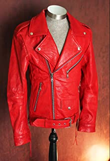 Men's Vegetable Tanned Blood Red Lambskin Motorcycle Biker Leather Jacket
