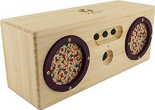 SCHWAIGER Altavoz Bluetooth pequeño | mini Altavoz Bluetooth estéreo | rocola | cajas de altavoces Bluetooth portátil con función de auricular en madera de bambú certificada FSC | Micro USB | AUX