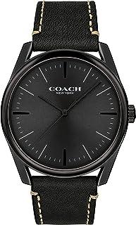ساعة بمينا اسود وحزام جلد بقر اسود للرجال من كوتش - 14602400