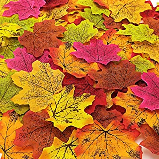 Grunyia 500PCS Fall Artificial Maple Leaves Assorted Mixed Autumn Colored Leaves for Thanksgiving Autumn Leaf Wedding Party Table Decor