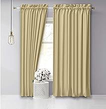 Vargottam Cotton Slub Beige Curtains 96 Inch Long Door Curtain 2 Panels Rod Pocket Living Room/Bedroom Drapes