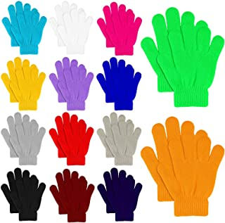 MENOLY 14 Pairs Winter kids Gloves Kids Knit Gloves Warm Stretchy Knitted Magic Gloves Full Fingers Gloves for Little Girls Boys Teens, 14 Colors