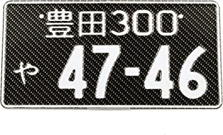 Custom Japanese License Plate - Embossed Characters - Customized Text - Matte Black, Gloss Black, Carbon Fiber Background with White Text