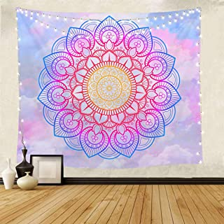 Blue and White Mandala Tapestry Wall Hanging for Living Room and Bedroom 51x59 Inches