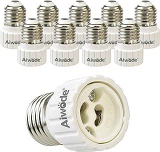 Aiwode Base Transformador de Lámpara E27 a GU10,Adaptador de Casquillo de Bombilla para bombillas LED y bombillas Halógenas,Potencia Máxima 200W,Paquete de 10.