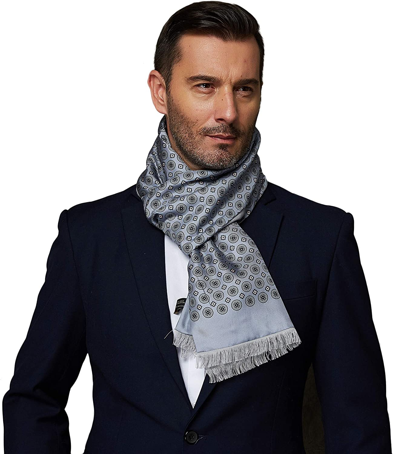 CUDDLE DREAMS Luxurious Men's Silk Scarves for Winter, 2-Layer Design, Silk Charmeuse Facing with Brushed Lining