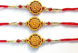 Rakhi Bracelet with Om Design & Multi Color Beautiful & Golden Beads - Thread Raksha bandhan Rakhi Gift for Your Brother, Gift Bracelet Wrist Bands for Loving Brother Sister & Father - Set of 3