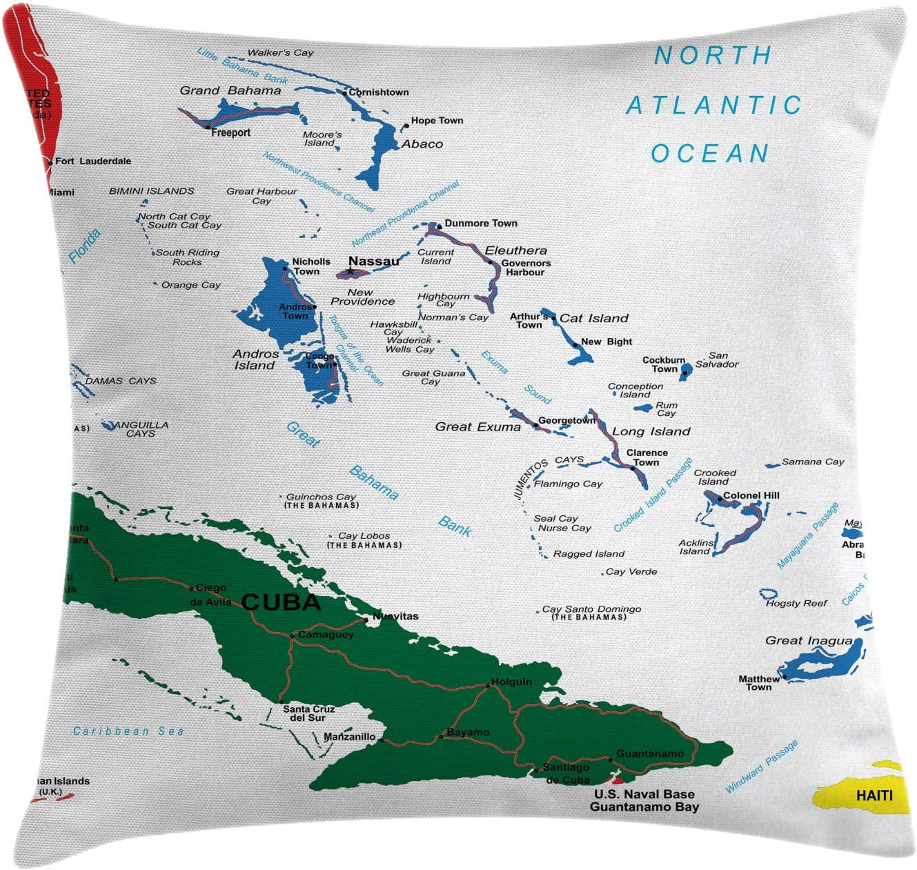 Amazon Com Ambesonne Wanderlust Throw Pillow Cushion Cover Bahamas Map Beach Cayman Islands Geography District Holiday Tourism Decorative Square Accent Pillow Case 26 X 26 Green Blue Home Kitchen