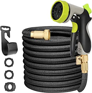 FKMHPE 25FT Expandable Garden Hose with 8 Function Spray Patterns, No Kink Flexible Water Hose with Brass Connectors for Watering Flowers, Car Washing, Pet Washing
