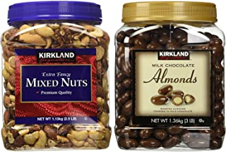 Kirkland Signature Mixed Nuts and Milk Chocolate Roasted Almonds Bundle - Includes Kirkland Signature Fancy Mixed Nuts (2.5 LB) and Milk Chocolate Roasted Almonds (3.0 LB)