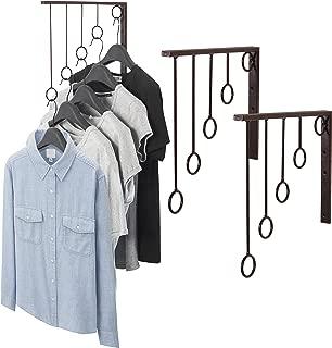 MyGift Set of 3 Wall-Mounted Brown Metal 5-Level Ring Garment Display Racks