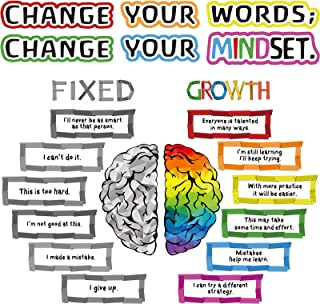 22 Pieces Growth Mindset Posters Bulletin Board Positive Sayings Accents Display Set Homeschool or Classroom Decorations f...