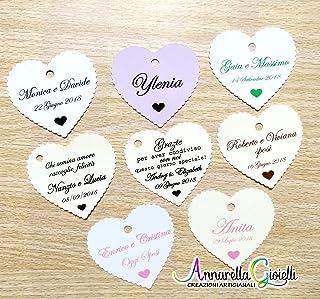 Cartellini per bomboniera personalizzati, 41x45 millimetri, bomboniere, vari colori, a partire da 20 pezzi, cuore, etichet...