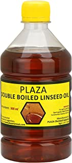 Double Boiled Linseed Oil by PLAZA- 500 ml Pack Used for Wood Finishing, On Walls Before Applying Paint, Mixing in Putty, Bare Wooden Furniture, Outside Wooden Furniture, Etc.
