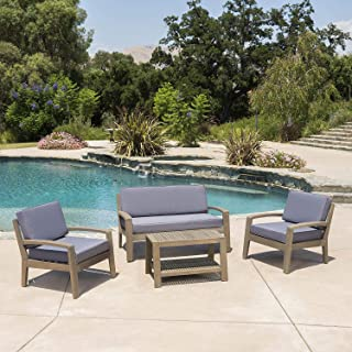 Great Deal Furniture Grenada Outdoor Grey Finished Acacia Wood 4 Piece Chat Set with Dark Grey Water Resistant Cushions
