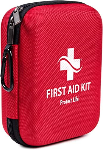 First Aid Kit - 200 Piece - for Car, Home, Outdoors, Sports, Camping, Hiking or Office | Red Case Fully Packed with E...
