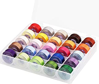 Simthread Size A Class 15 (SA156) 60WT Prewound Bobbins Thread Assorted with Clear Storage Plastic Box for Brother Embroidery Sewing Machine 25pcs/Set