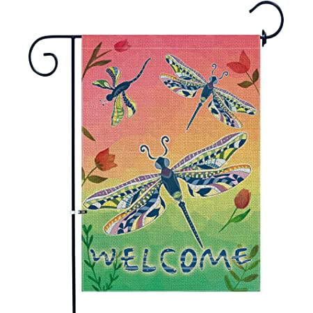 Dragonfly Welcome Flags Outdoor Yard Double-sided Welcome Garden Flag