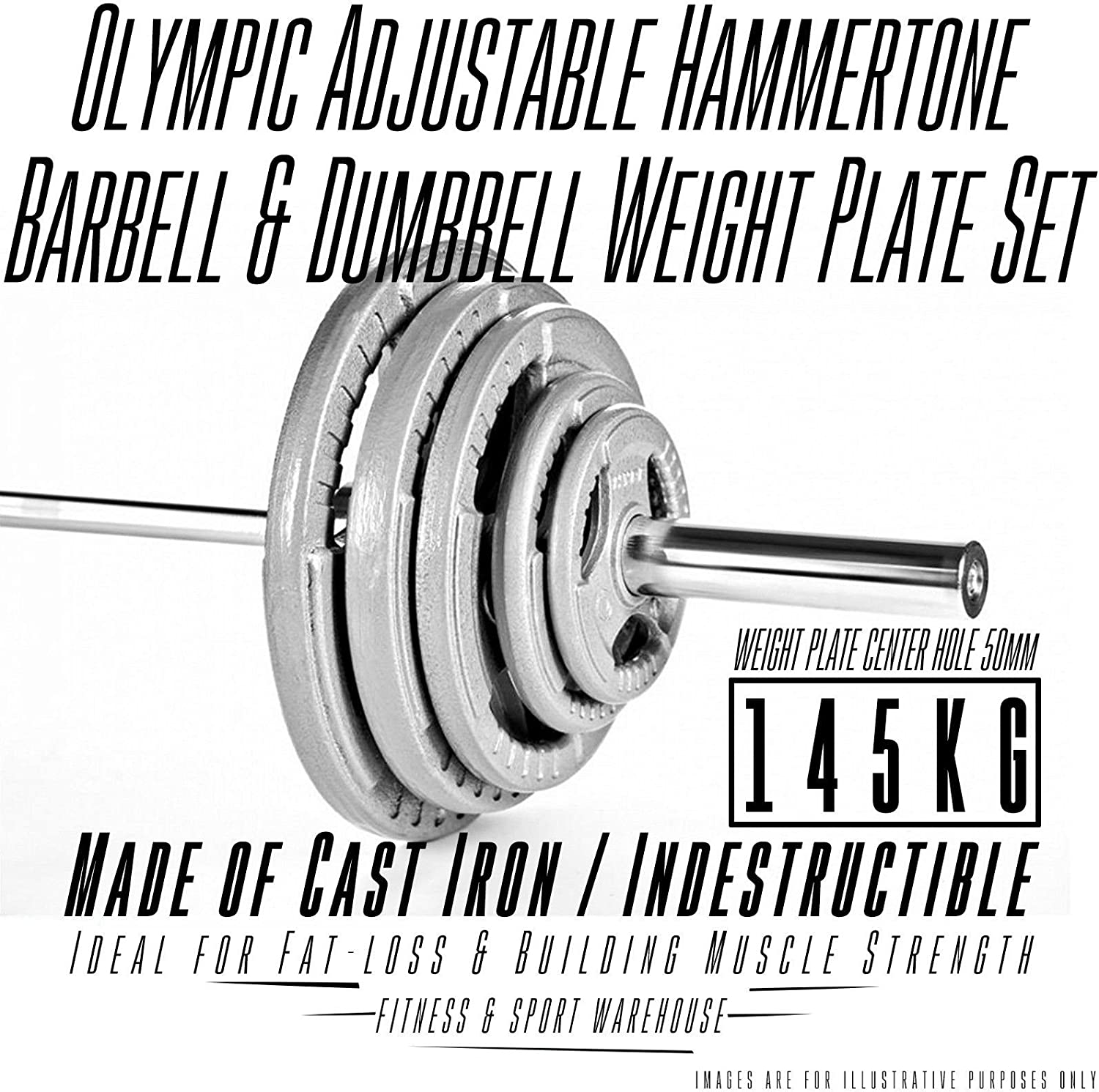 145KG Olympic Hammertone Barbell Weight Plate & 7 Ft Bar with Spring Collar