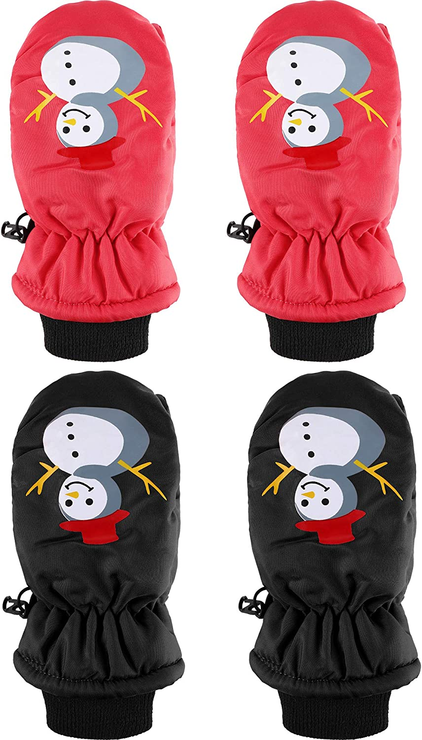 SATINIOR 2 Pairs Child Ski Gloves Toddlers Windproof Snow Mittens for Boys Girls Aged 3-5 Years (Red, Black)