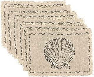 VHC Brands Coastal Tabletop & Kitchen - Sandy Burlap White Placemat Set of 6, 12