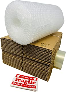 """JKX Small Cardboard Shipping Boxes Mailers 6x6x6 inches (Pack of 25) Bundle with Bubble Wrap 3/16"""" 12"""" X 30' and 25 Fragile Labels. (Without Tape Dispenser)"""