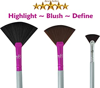 Makeup Highlighting Fan Brush Cheeks - Bronzers an Highlighter Kit Nose & Brow Premium Fan Brushes For Makeup Plush Fan Brushes Small Firm Fan Brush Best For Defined Areas And Lip brush
