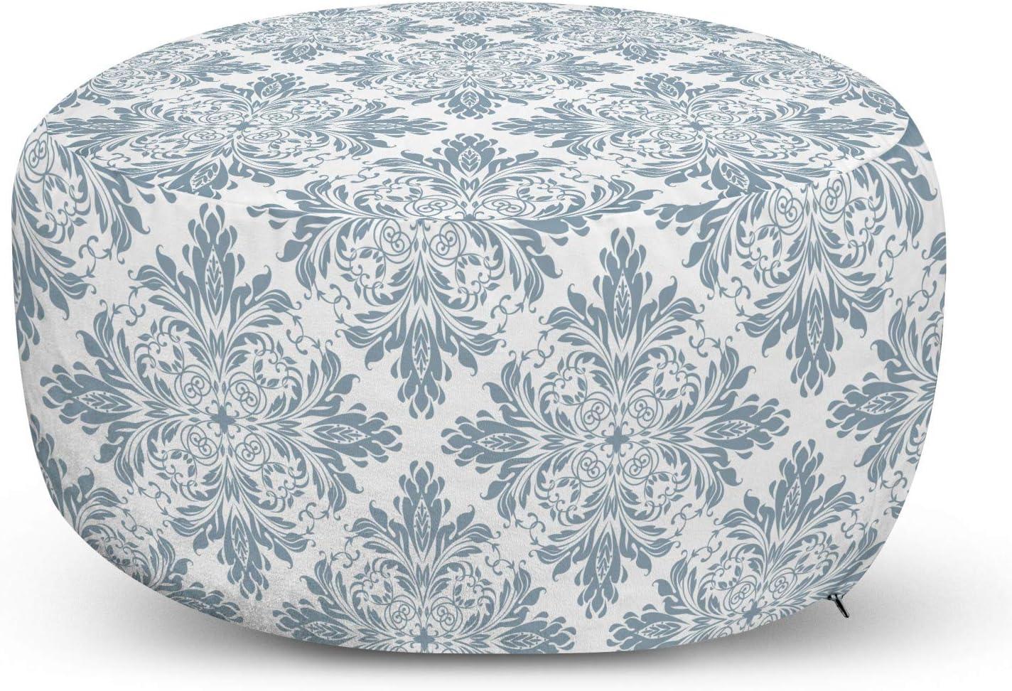 Lunarable Surprise price Damask Ottoman Pouf Victorian Cheap bargain Pattern Floral Baroque