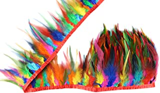 Rainbow Color 2 Yard Long, Dyed Saddle Feather Fringe 5-6 inch Height, Feather Fringe Trim, for Skirt Dress Costume Roster Feather Trim