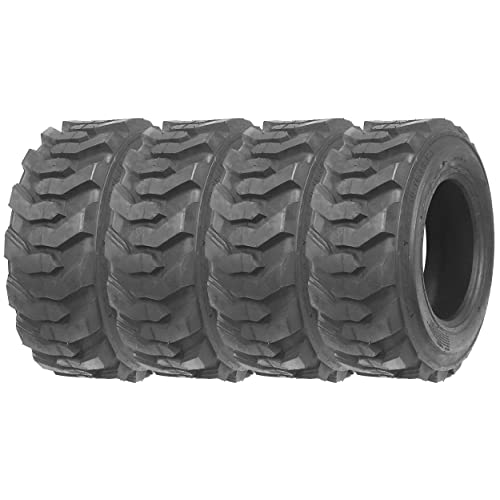 Set of 4 New ZEEMAX Heavy Duty 10-16.5/12PR G2 Skid Steer Tires for Bobcat w/Rim Guard