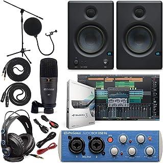 "Presonus AudioBox 96 Audio Interface Full Studio Bundle with Studio One Artist Software Pack w/Eris 4.5 Pair Studio Monitors and 1/4"" TRS to TRS Instrument Cable"
