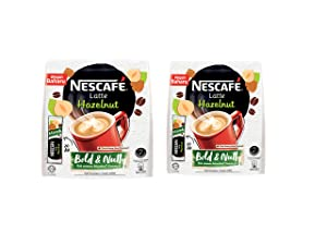 Nescafe 3 in 1 Hazelnut Coffee Latte - Instant Coffee Packets - Single Serve Flavored Coffee Mix - Bold & Nutty (2 Packs - 20 Sticks Each)