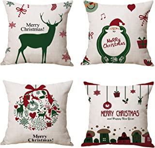 RJUP Christmas and Santa Claus Decorations Cotton Linen Winter Deer Pillow Covers Set of 4 Christmas Decor Throw Pillow Co...