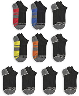 Fruit of the Loom Boys Flat Knit No Show Socks, Small, 10 Pack, Black Assorted,