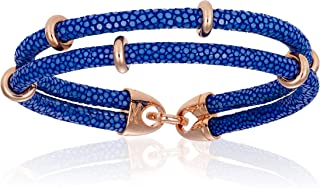 Double Bone Double Stingray Bracelet. Genuine Leather Bangle with Rose Gold Beads for Men and Women