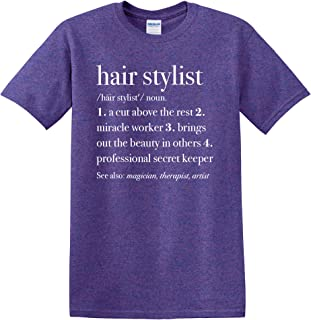 Elanze Designs Hair Stylist Definition Cotton Womens Front Print T-Shirt