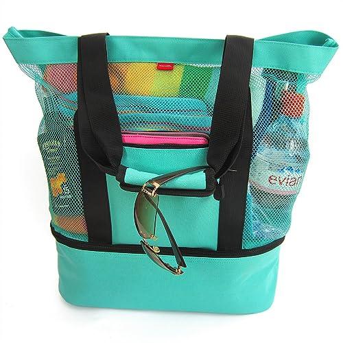 OdyseaCo - Aruba Beach Bag - Beach Tote w Zipper   Insulated Cooler  (Turquoise 18f705c699334