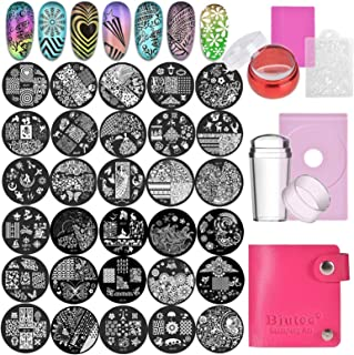 Biutee Nail Stamping Plates Set 30pcs Nail Plates 2stamper 2scraper 1storage bag 1Plate Holder Flower Animal Pattern Nail ...