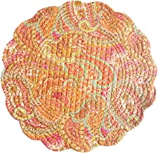 Set of 4 PCS, 17 Round Quilted Placemat, Veda