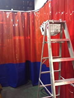 Strip-Curtains.com: Welding Curtain - 3 Colors Top: White Middle: Clear and Bottom: Blue - Width 12 ft. X Height 10 ft. - 18 oz Fire Rated Curtain - Hardware Included (Threaded Rod Kit)