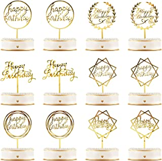 Sponsored Ad - 12 Pieces Acrylic Happy Birthday Cake Topper Glitter Birthday Cupcake Topper Pick Decorations for Birthday ...