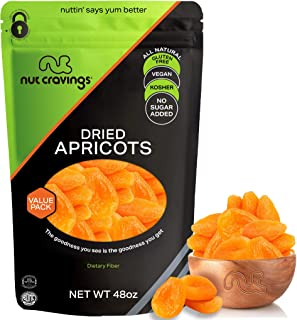 Sun Dried Turkish Apricots, No Sugar Added (48oz - 3 Pound, Bulk) Packed Fresh in Resealable Bag - Sweet Dehydrated Fruit ...
