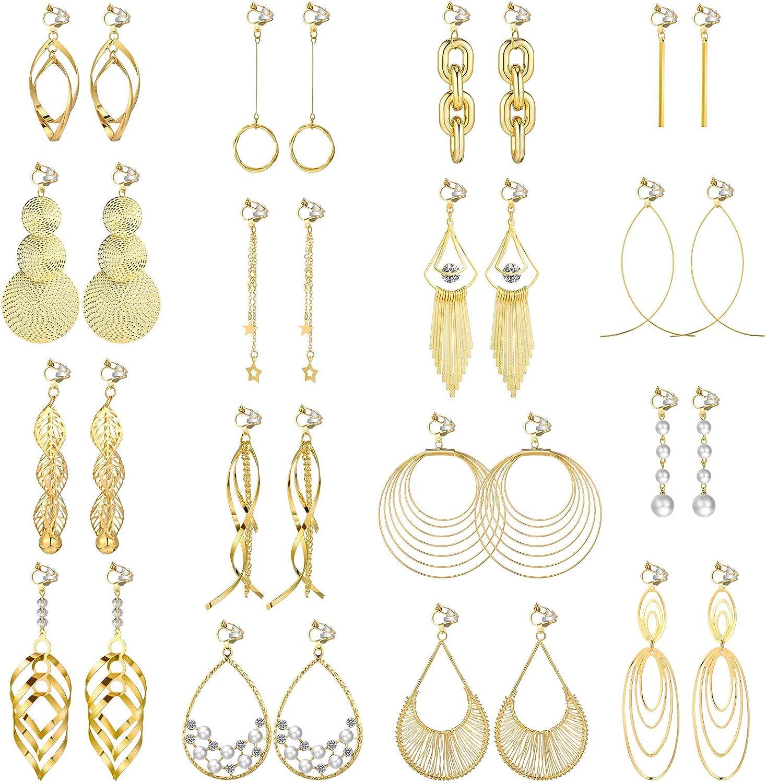 16 Pairs Clip on Drop Dangle Earrings Set Bohemian Tassel Pendant Clip Earrings Gold Plated Ear Clips Non-Piercing Pendant Earrings for Women