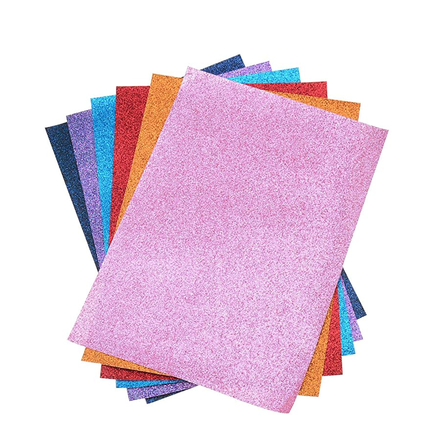 6 Solid Colors A4 Size 8x11 Inch Faux Leather Glitter Canvas Fabric Sheets for Bows Making, Earrings Making, Hair Accessories Making, Home Decoration, Patchwork, Upholstery, Each Color One Sheet