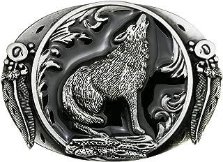 Western Wolf Moon Men's Alloy Leather Belt Buckle Vintage Cowboy Buckle NeR PH