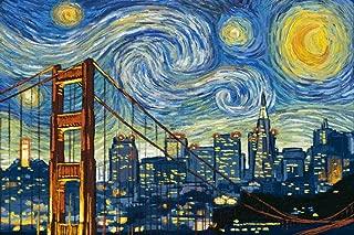 San Francisco, California - Skyline - Van Gogh Starry Night (24x36 Giclee Gallery Print, Wall Decor Travel Poster)